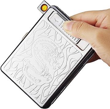 Pantheraa USB Encendedor de Cigarrillos Caso Caja de Cigarrillos electr/ónicos sin Llama bater/ía Resistente al Viento encendedores Puede Hold 16/Cigarrillos Humo
