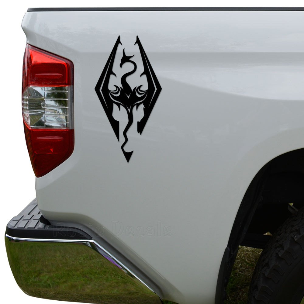 Rosie decals skyrim dragon gaming die cut vinyl decal sticker for car truck motorcycle window bumper wall decor size 6 inch 15 cm tall color matte white