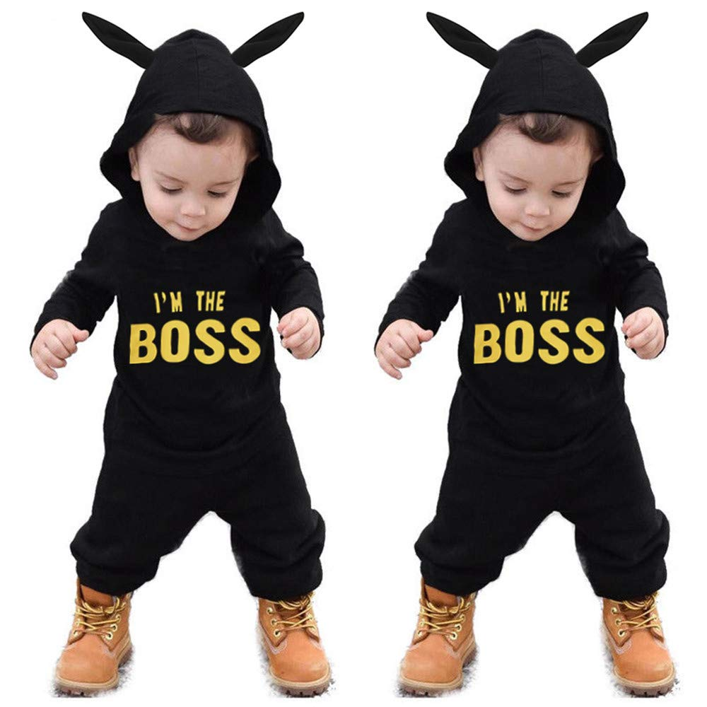 for 0-2 Years Old, Baby Jumpsuit, Toddler Kids Baby Letter Boys Girls Hoodie Outfits Clothes Romper