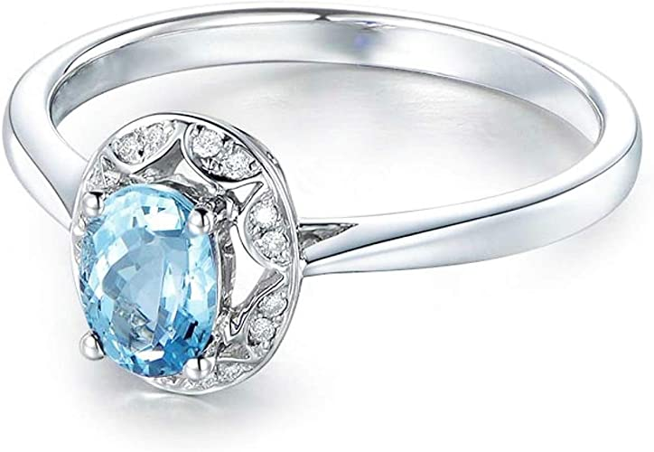AMDXD Jewelry 925 Silver Engagement Rings Women Blue Oval Cut Topaz Oval Ring