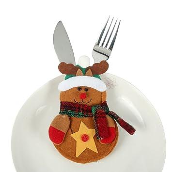 dodoing 3 piezas/5 bolsas de calcetín de Navidad mesa de comedor Cuchillo Tenedor Vajilla