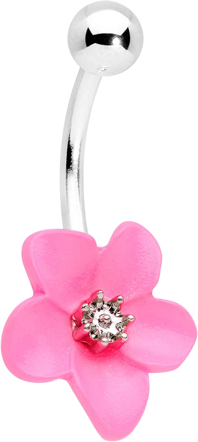 Body Candy Womens 14G PVD Steel Navel Ring Piercing Flower Frog Double Mount Belly Button Ring
