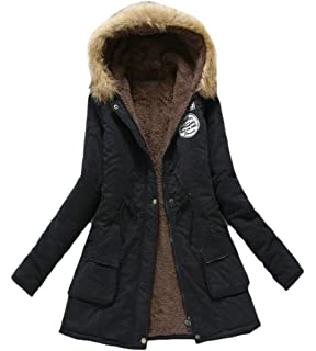 Suncolor8 Mens Mid Length Hooded Winter Loose Thick Parka Jacket Trench Coat