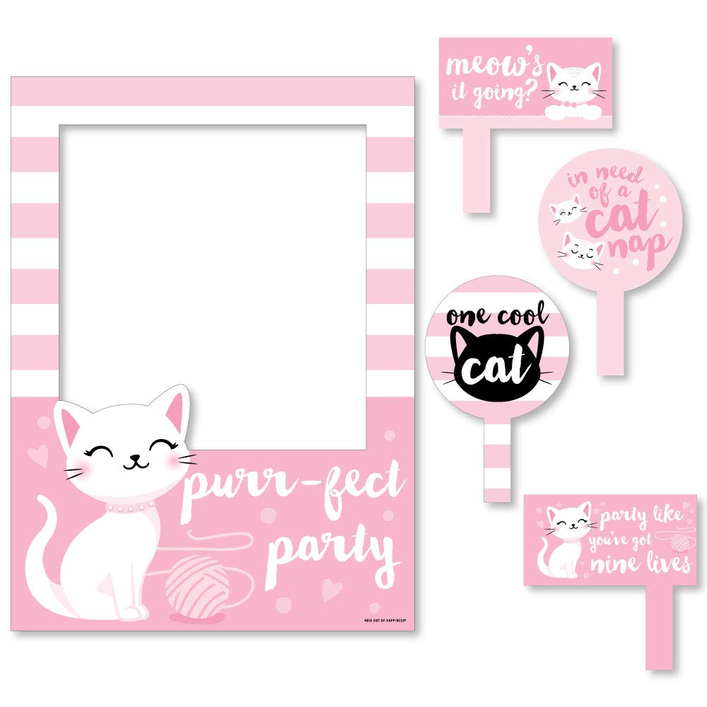 Big Dot of Happiness Purr-fect Kitty Cat - Kitten Meow Baby Shower or Birthday Party Selfie Photo Booth Picture Frame and Props - Printed on Sturdy Material
