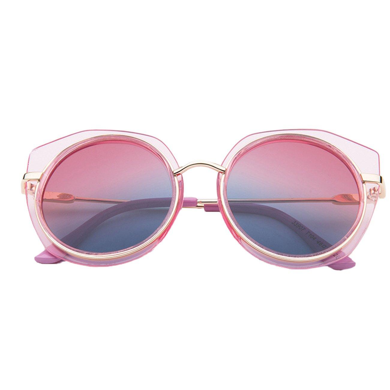 Lemonkid Kids Sunglasses UV Protection Metal Arrow for Boys Girls Pink Mirror width 13.5cm
