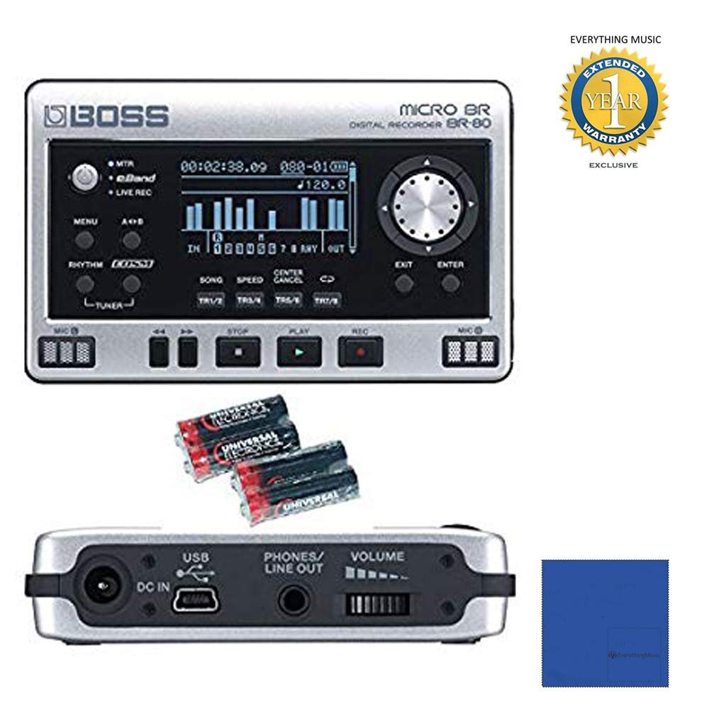 Boss Micro BR BR-80 8-Track Digital Recorder with 4 Free Universal Electronics AA Batteries with Microfiber and 1 Year Everything Music Extended Warranty