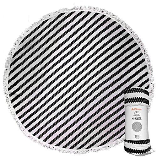 Mimosa Inc Round Beach Towel Ultra Plush 100% Cotton Terry Velour Throw Mat with Thick Artisan Tassels, 5ft, Windward