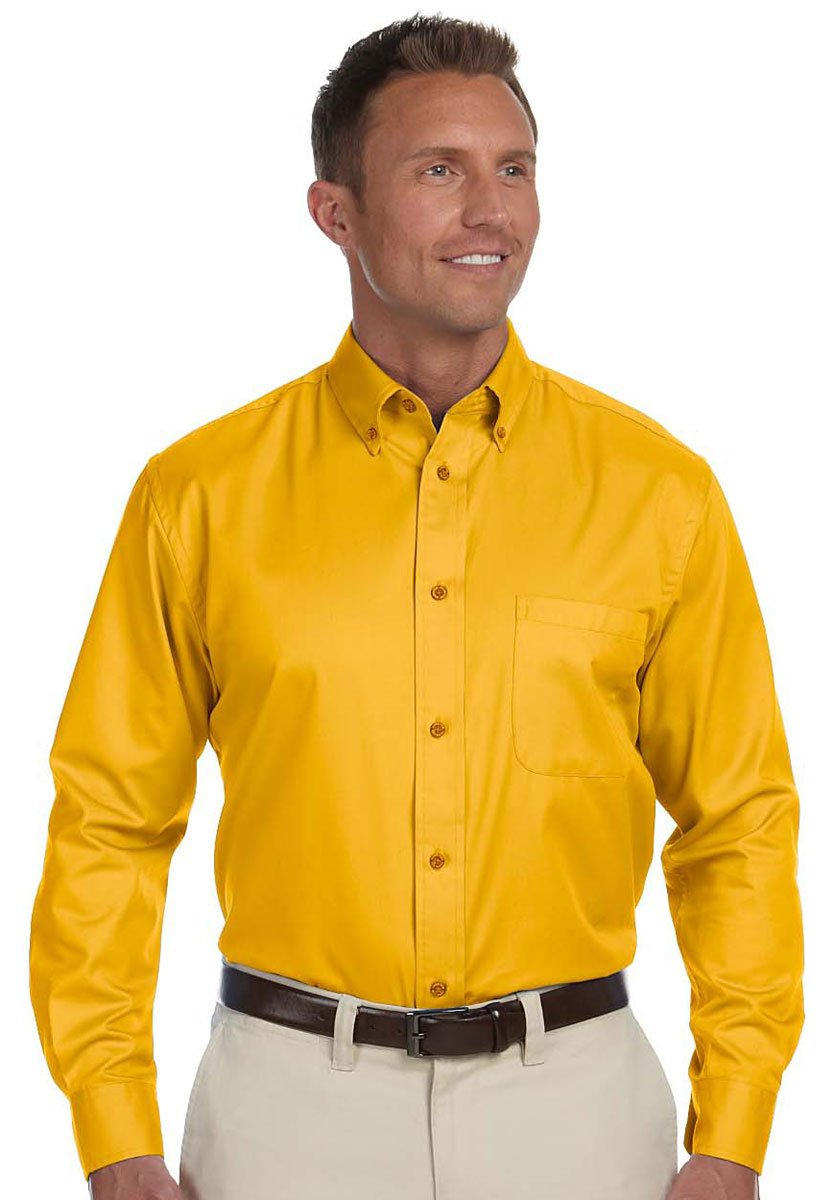 Harriton Mens Easy Blend Long-Sleeve Twill Shirt with Stain-Release 2XL SUNRAY YELLOW