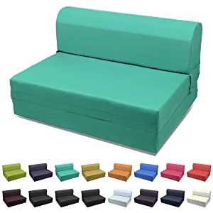 Magshion Sleeper Chair Folding Foam Bed Choose Color & Sized Single,Twin or Full (Full (5x46x74), Teal Green)