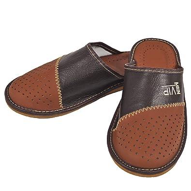 c370b908735e DF-SOFT Herren Herrenpantoffel Pantoffel Hausschuhe Haus Schuhe Leder  Pantoffel Lederpantoffel Pantoletten Schlappen Modell 133