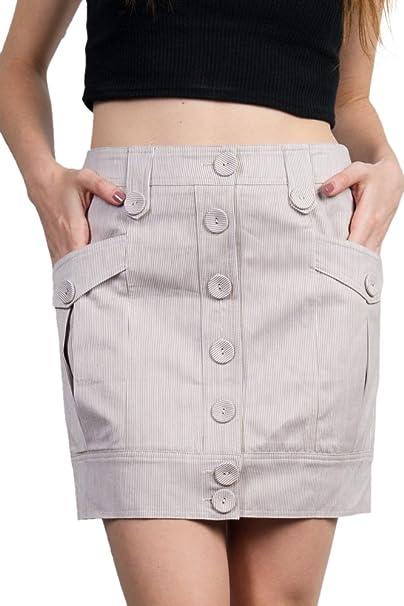 5af3b22831 Limit 33 Juniors Teens Retro Style Vintage Button up High Waist Mini Short  Skirt Striped Khaki