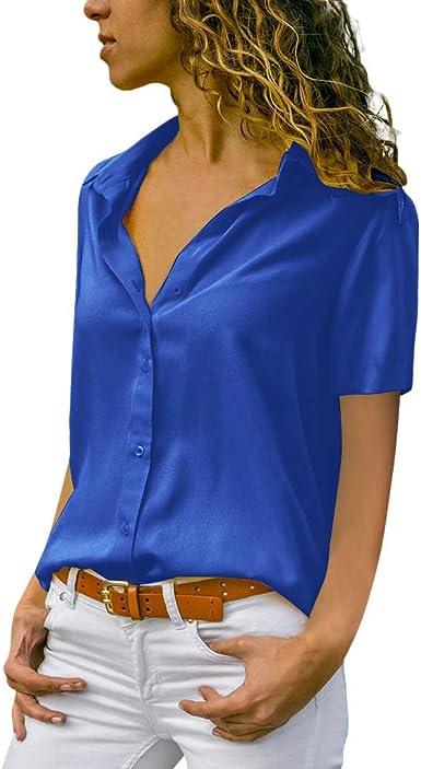Moda Solid Chiffon Blusas para Mujer Elegantes Camiseta ...