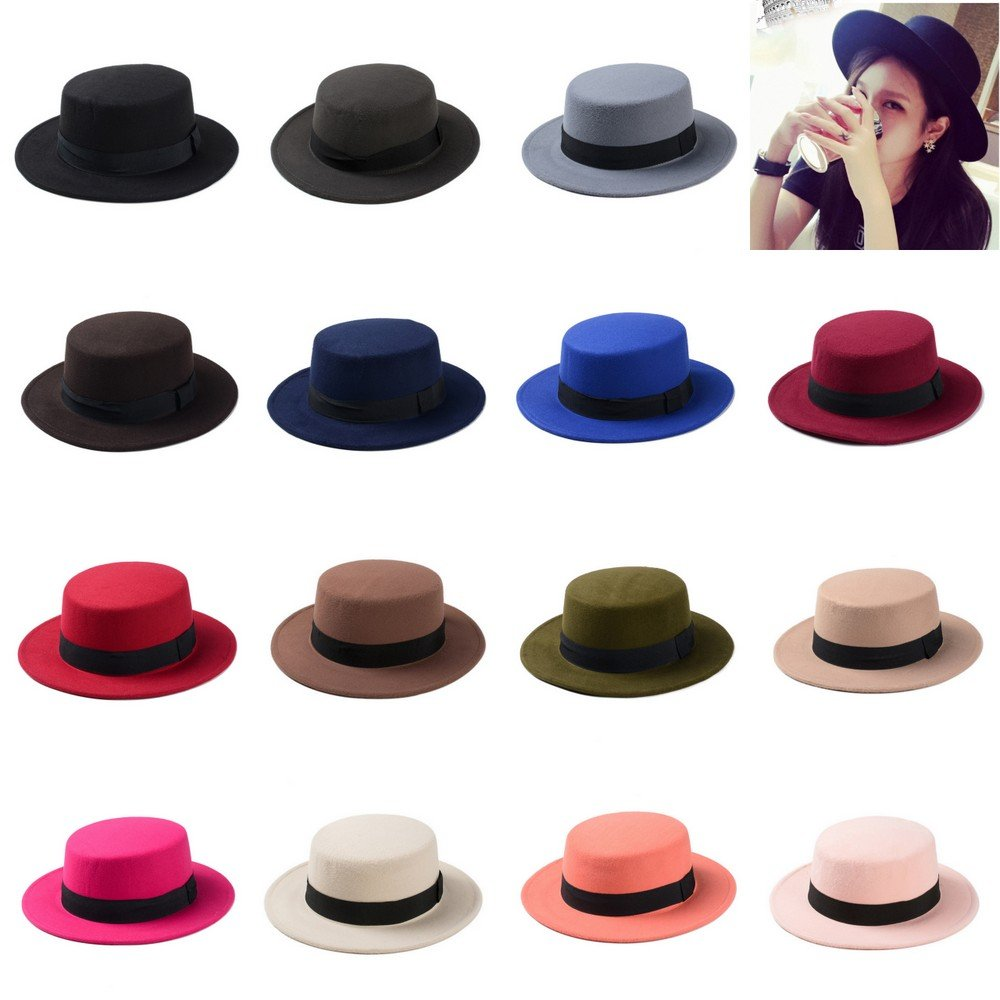 a1bcaad8f06 ... undefeated x 914c8 c215d MXNET Wool Boater Flat Top Hat For Womens Felt  Wide Brim Fedora ...