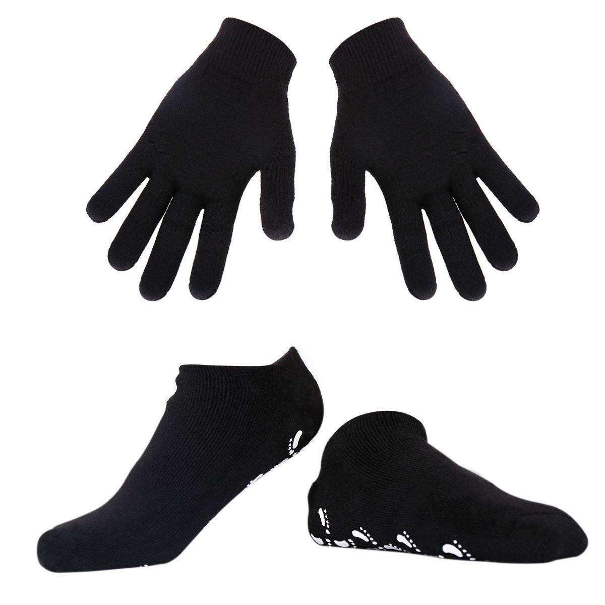 Spa Gel Hidratantes Guantes y calcetines soften Fur seca Harte rissige piel (Black) Happon