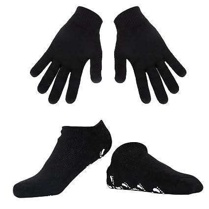Spa Gel Hidratantes Guantes y calcetines soften Fur seca Harte rissige piel (Black)