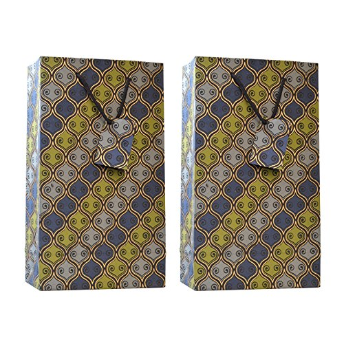 C.W. Collections Handcrafted Artisan Double Wine Bottle Gift Bag (2 Pack), Geometric Retro, Blue/Green