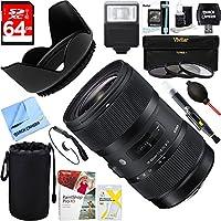 Sigma (210-306) AF 18-35mm f/1.8 DC HSM ART Lens for Nikon SLR + 64GB Ultimate Filter & Flash Photography Bundle