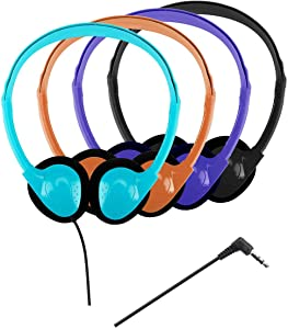 Classroom Headphones Bulk - QWERDF 12 Packs Earphones in 4 Colors for Kids Teens College Students in Classes Libraries or Home (12 Pack, 4 Colors)