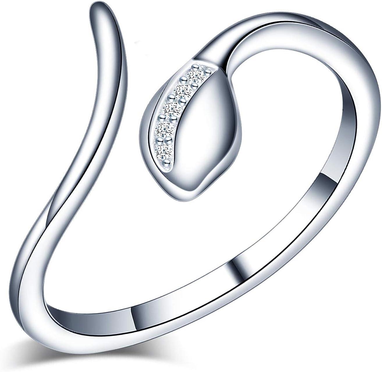 Yumilok Anillo de plata de ley 925 para mujer, anillo abierto de serpiente, circonita incrustada, tamaño ajustable, regalo de cumpleaños de Navidad, tamaño: 49-57