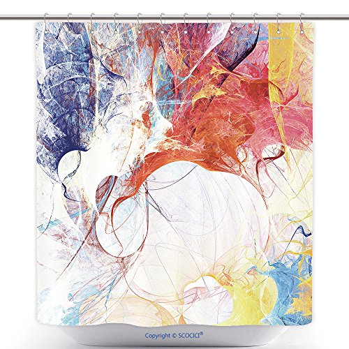 Jelly Splash Costume (Durable Shower Curtains Bright Artistic Splashes Abstract Painting Color Texture Modern Futuristic Pattern Multicolor 398494492 Polyester Bathroom Shower Curtain Set With Hooks)