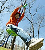 HearthSong 100 Foot Green Zipline Kit for Kids - Adjustable and Removable Seat - Non Slip Carriage Handles and Rubber Brake - Backyard Playground Equipment - Approx. 100'L