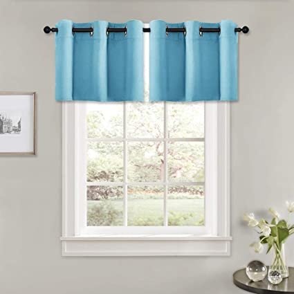 PONY DANCE Kitchen Window Valances - Home Decor Grommet Blinds Light Block  Curtain Drapes Energy Saving Shades for Cafe & Bathroom, 42 Wide by 18 ...