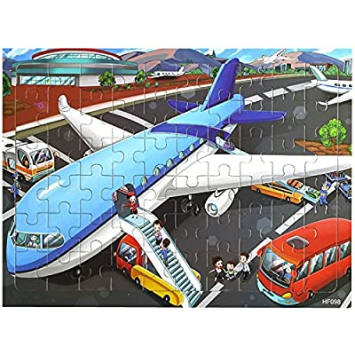 Layhome Puzzles 60 Pieces Durable Wooden Puzzle Children Fairy Story Animals Transportation Jigsaw (Airplane) : Baby