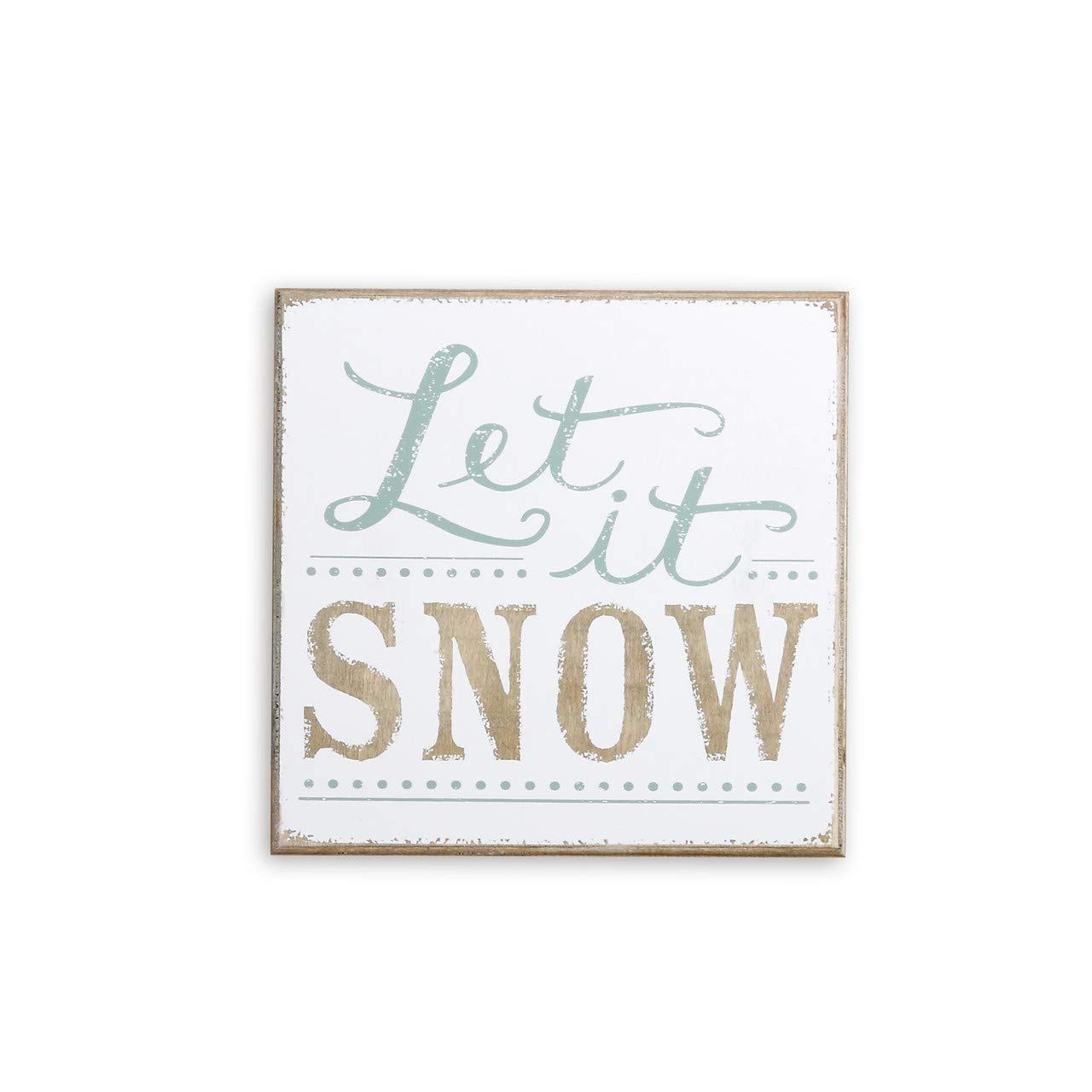 DEMDACO Let It Snow Natural Brown 9 x 9 Wood Composite Christmas Wall Art Plaque