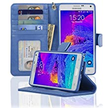 Navor Protective Flip Wallet Case for Samsung Galaxy Note 4 - (Hot Blue)