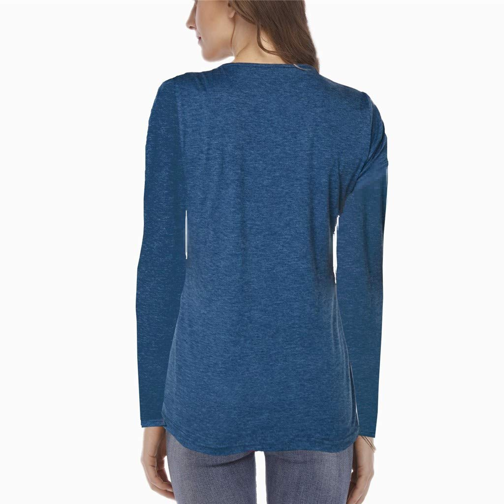 Pandaie Womens Long Sleeve Tops,Women V-Neck Patchwork Button Pullover T-Shirt Blouse Top
