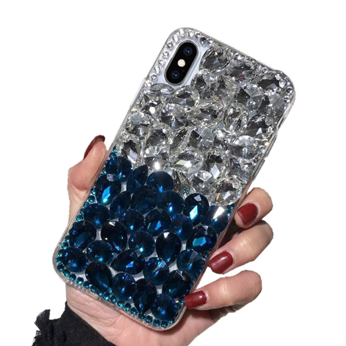 Luxus Glitzer Hü lle fü r Galaxy S9, Misstars 3D Bling Diamant Handyhü lle Transparent Hart PC Rü ckschale mit Silikon TPU Rahmen Schutzhü lle fü r Samsung Galaxy S9, Silber