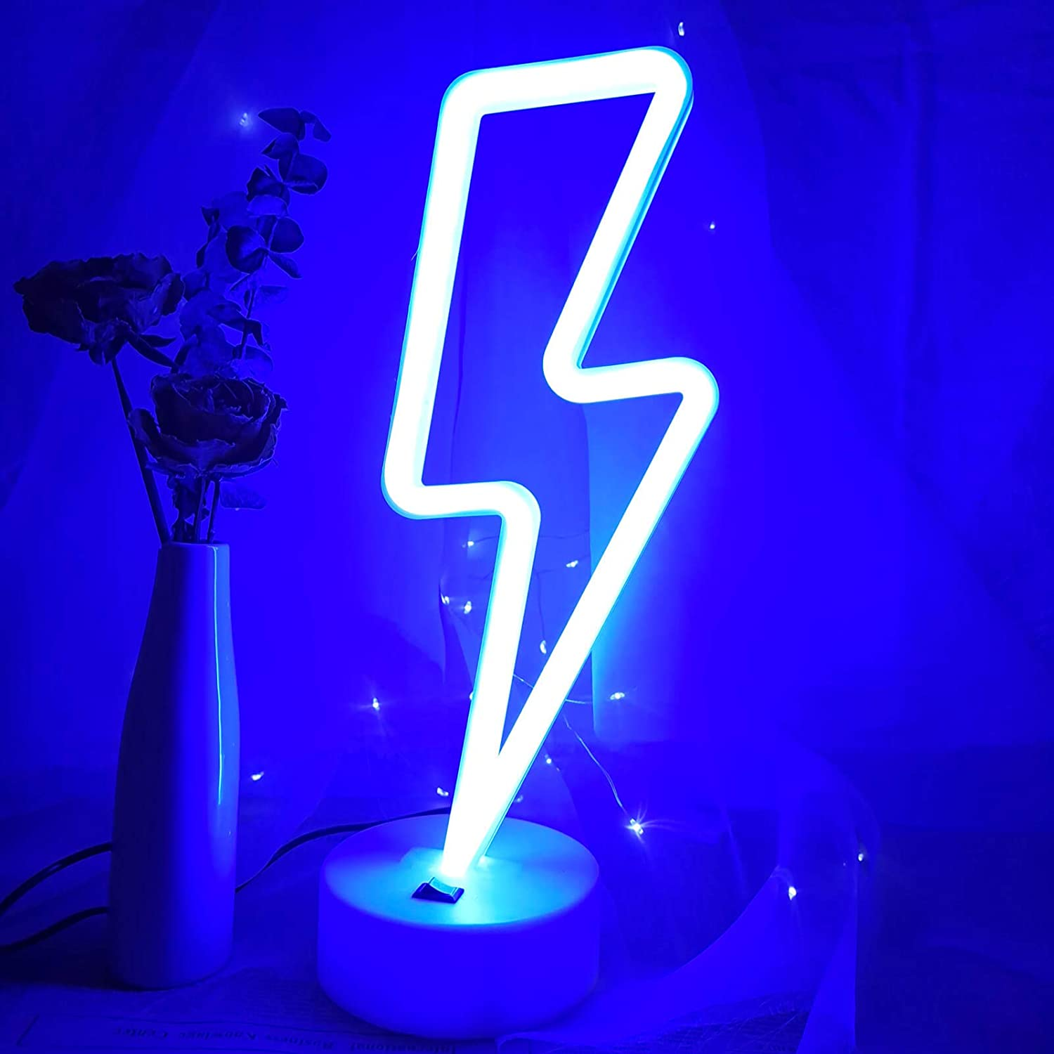 VIFULIN Blue Lighting LED Lights for Bedroom Neon Signs for Wall Decor Room Decor for Teen Girls Gifts for Teenager Boys USB/Battery Cool Gadgets Cool Things Gaming Accessories with Holder(Blue)