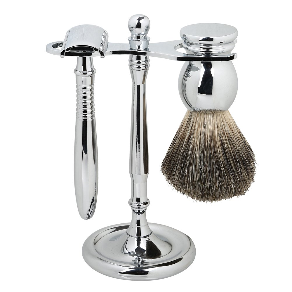 SMAGREHO Double Edge Safety Razor Shaving Set with Deluxe Stand / Pure Badger Brush / Long Handle Safety Razor Shaving and 5 Free Platinum Blades