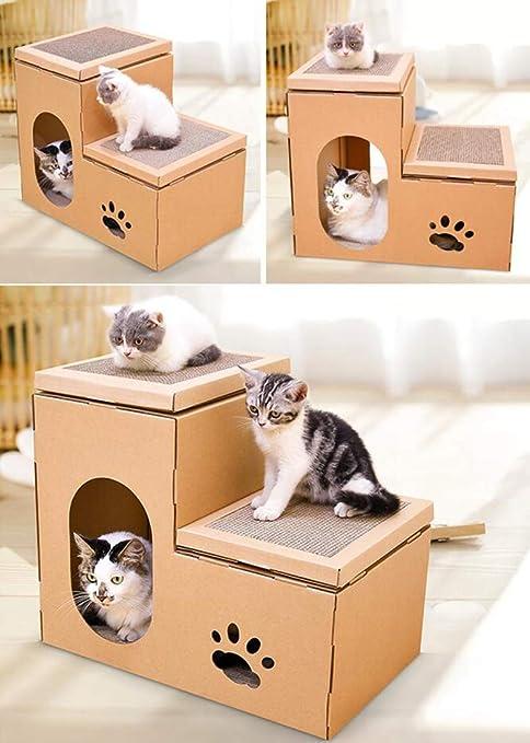 Corrugado De Papel Cat Habitación Gruesa Doble Paso Combinación Gato Casa Gato Villa Gato Arañazo Bordo Gato Garra Juguete: Amazon.es: Productos para ...