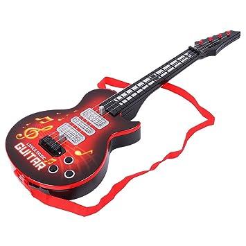 KINTRADE 4 Instrumentos de Cuerda Música Guitarra Eléctrica Juguete Niños Regalo de Juguete Educativo Rojo: Amazon.es: Hogar