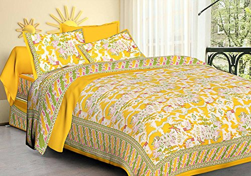 Double Bedsheet Cotton Printed Double Bedsheet With 2 Pillow Covers Fitted  Double Bed Sheet Bed Cover