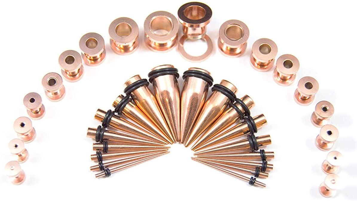 Gold Titanium Stretching Kit Plugs /& Tapers Set 28pc Gauges 14g-0g