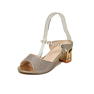 fe65bfc93fdda Ladies Sparkle Glitter Heels Pearl Chains Peep Toe Sandals for Women Ankle  Strap Sexy Slip On