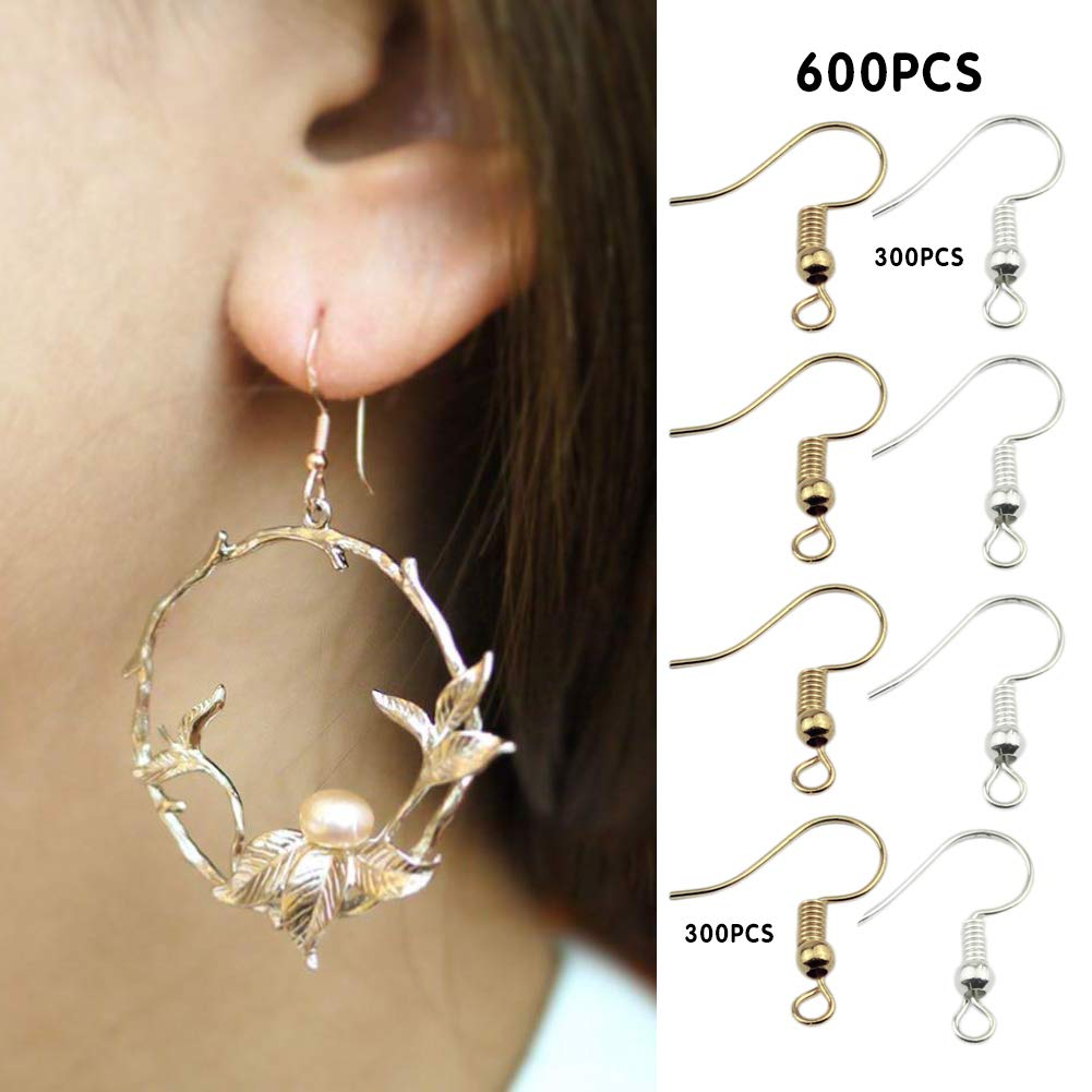 600Pcs Earring Hooks Hoops Wires for DIY Jewelry Findings,Plated Fish Hook Earring Silver Gold Ear Wires with Ball and Coil for Women,Men,Children