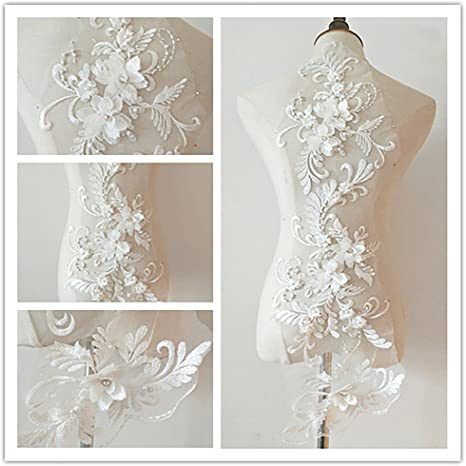 3D Flowers Embroidery Sequin Lace Fabric DIY Wedding Dress Bridal Lace Applique