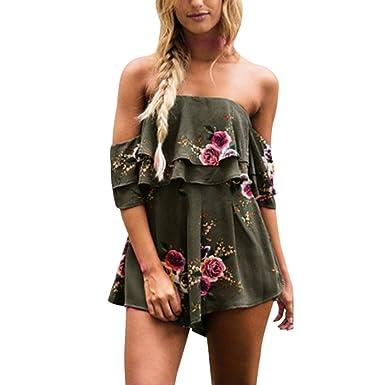 ac664bdb64e Sunward Women s Summer Ruffle Off Shoulder Floral Print Jumpsuit Playsuit  Rompers (L2