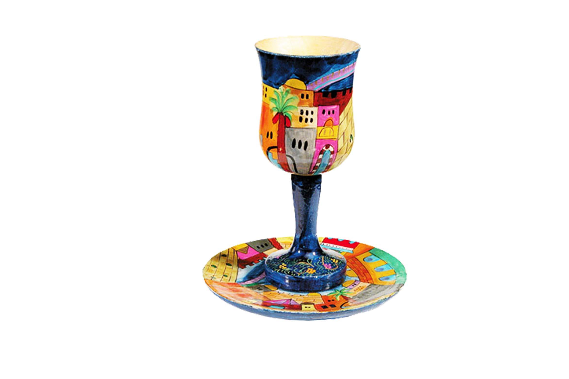 Yair Emanuel Silk Jerusalem Challah Cover & Kiddush Cup Set for Shabbat Jewish Wedding or Bar Mitzvah & Bat Mitzvah Gift. by Yair Emanuel (Image #3)