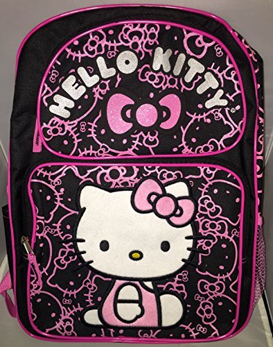 Sanrio Hello Kitty Large Backpack - Black with Pink Glitter -