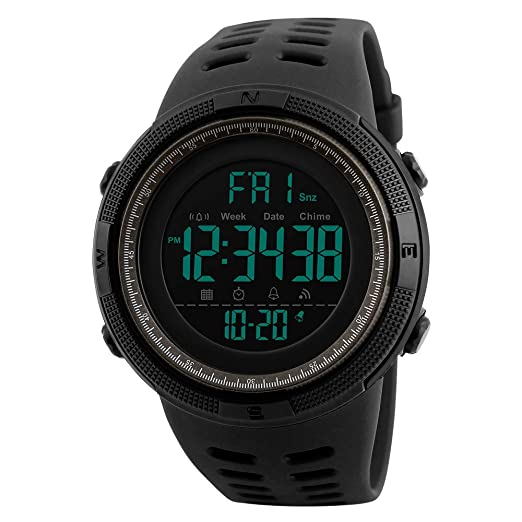 Mens Digital Outdoor Sports Watch Waterproof Military Stopwatch Countdown Auto Date Alarm (SK 1251 Black