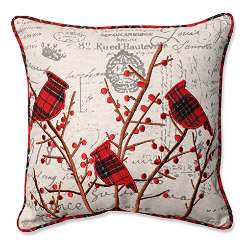 Pillow Perfect Holiday Embroidered Cardinals Throw Pillow, 16.5-Inch