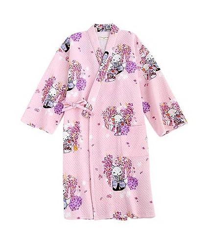 Koala Superstore Kimono Estilo Robe Pijamas al Vapor Batas de baño Inicio camisón, Zorros Rosados