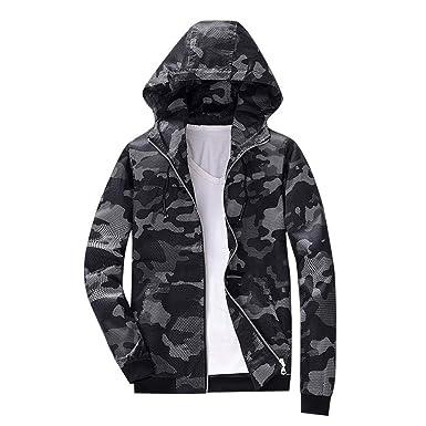 SUCES Herren Camouflage Jacke Mesh Hoodie Mantel Kapuze Sweatshirt Lässig  Reissverschluss Outwear Männer Herbst Winter Lange Ärmel Sweatjacke   Amazon.de  ... a4b14d1483