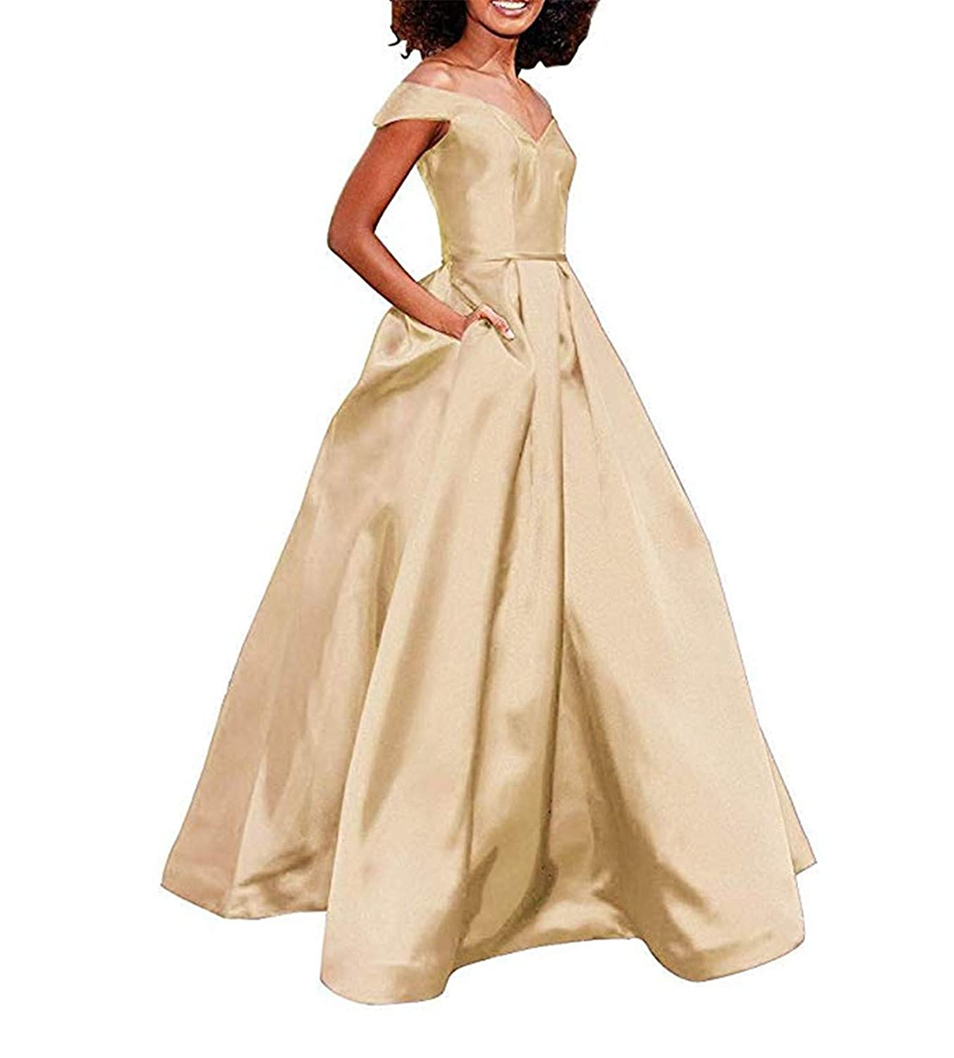 Champagne Women's Off The Shoulder A Line Prom Dress Satin Formal Party Ball Gown with Pockets