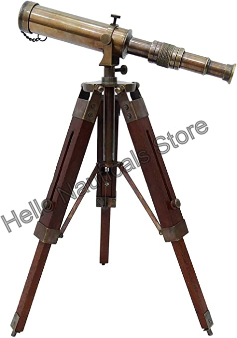 Vintage Nautical Brass Antique Telescope Spyglass With Wooden Stand Home Decor