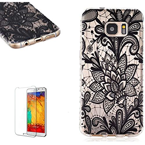 Samsung Galaxy S7 Edge (2016 Release) Case [with Free Screen Protector], FunPlus Transparent Soft Silicone Gel Ultra Thin TPU Beautiful (Black Lace) Pattern Sales